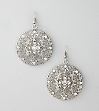 Erica Lyons® Silvertone Drop Disk Pierced Earrings