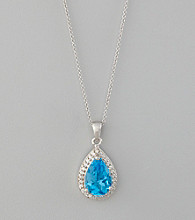 Designs by FMC Sterling Silver Plated Blue Topaz Color Cubic Zirconia Surrounded by Cubic Zirconia Boxed Pendant Necklace