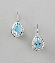 Designs by FMC Sterling Silver Plated Blue Topaz Color Cubic Zirconia Surrounded by Cubic Zirconia Leverback Boxed Earrings