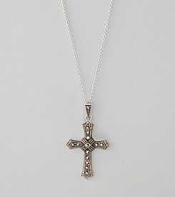 Designs by FMC Sterling Silver Plated Marcasite Cross Boxed Pendant Necklace