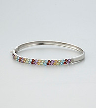 Designs by FMC Sterling Silver Plated over Brass with Multi Gemstone and Diamond Accent Boxed Bangle Bracelet