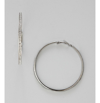 Sterling Silver Plated Cubic Zirconia Hoop Earrings