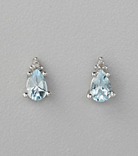 Marsala 10K White Gold and Aqua Post Earrings