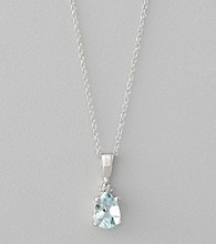 Marsala 10K White Gold and Aqua Pendant Necklace