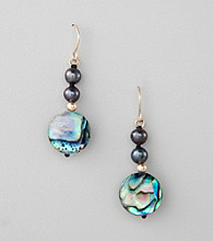 Marsala 10K Yellow Gold Paua Shell Earrings
