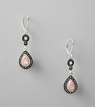 Marsala Sterling Silver Marcasite and Pink Shell Earrings