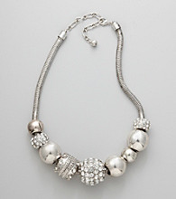 Erica Lyons® Silvertone Short Bead Front Necklace