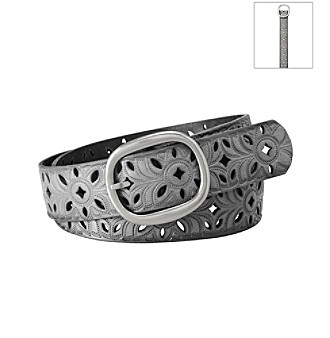 Fossil® Gunmetal Floral Perforated Belt