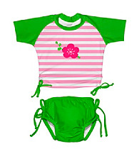 i play.® Girls' Green/Pink 2-pc. Tie Rashguard Swim Set