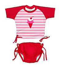 i play.® Girls' Light Pink Ice Cream 2-pc. Tie Rashguard Swim Set