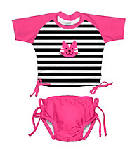 i play.® Girls' Hot Pink Kitty 2-pc. Tie Rashguard Swim Set