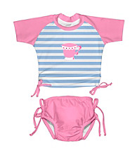 i play.® Girls' Light Blue/Pink Teacup 2-pc. Tie Rashguard Swim Set