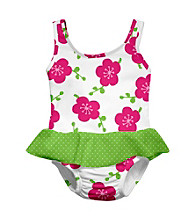 i play.® Girls' White Blossom Swim Diaper Skirty Tanksuit