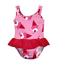 i play.® Girls' Light Pink Ice Cream Swim Diaper Skirty Tanksuit