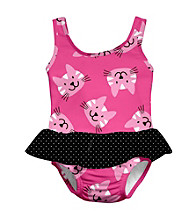 i play.® Girls' Hot Pink Kitty Swim Diaper Skirty Tanksuit