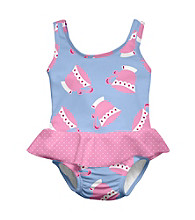 i play.® Girls' Light Blue Teacup Swim Diaper Skirty Tanksuit