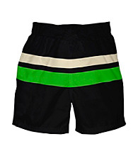 i play.® Boys' Black/Green Ultimate Swim Diaper Block Boardshorts