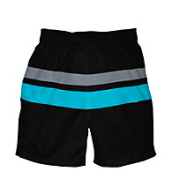i play.® Boys' Black/Aqua Ultimate Swim Diaper Block Boardshorts