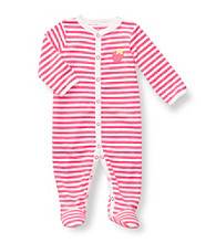 Carter's® Baby Girls' Pink Striped Terry Strawberry Footie