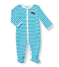 Carter's® Baby Boys' Turquoise Striped Terry Whale Footie
