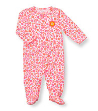 Carter's® Baby Girls' Pink/Orange Cotton Floral Footie