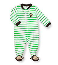 Carter's® Baby Boys' White/Green Striped Cotton Monkey Footie