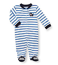 Carter's® Baby Boys' White/Navy Striped Cotton Dog Footie