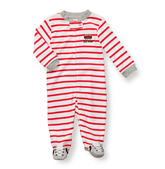 Carter's® Baby Boys' White/Red Striped Cotton Baseball Footie