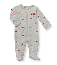Carter's® Baby Boys' Grey Cotton Fire Truck Schiffli Footie
