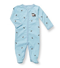 Carter's® Baby Boys' Blue Cotton Dog Schiffli Footie