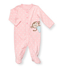 Carter's® Baby Girls' Pink Cotton Polka-Dot Monkey Footie
