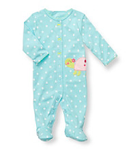 Carter's® Baby Girls' Turquoise Polka-Dot Cotton Turtle Footie