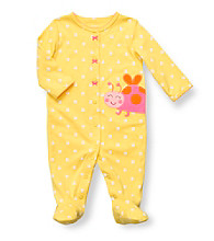 Carter's® Baby Girls' Yellow Cotton Polka-Dot Ladybug Footie