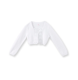 Miss Attitude Girls' 2T-16 White Crochet Cardigan