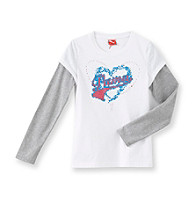 PUMA® Girls' 7-16 White Long Sleeve Hearts Skater Tee