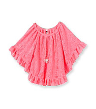 Beautees Girls' 7-16 Lace Flutter Sleeve Circle Top