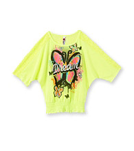 Beautees Girls' 7-16 Love Dolman Screen Tee