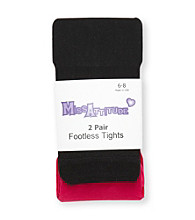 Miss Attitude Girls' 2-pk. Pink/Black Footless Tights