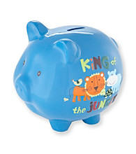 Cuddle Bear® Boys' Blue Jungle Piggy Bank