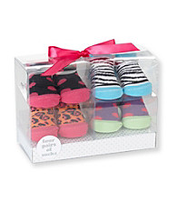 Cuddle Bear® Baby Girls' Bright 4-pk. Dot/Animal Socks