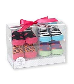Cuddle Bear® Baby Girls' Bright 4-pk. Dot/Animal Socks