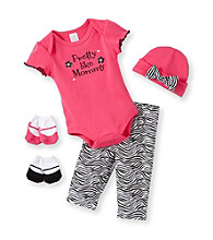 Cuddle Bear® Baby Girls' Pink 5-pc. Zebra Flower Layette Boxed Set