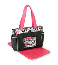 Cuddle Bear® Girls' Pink Zebra Diaper Bag