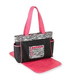 Cuddle Bear® Girls' Pink Zebra Diaper Bag