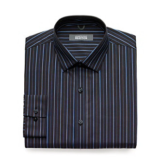 Kenneth Cole REACTION® Men's Brown and Blue Striped Dress Shirt