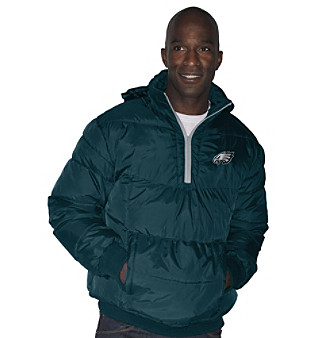G-III Men's Green Philadelphia Eagles Team Vertex Quarter-Zip Jacket
