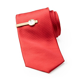 St. Nick's Men's Holiday Solid Necktie With Santa Tiebar