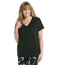 HUE® Plus Size Classic Short Sleeve V-Neck Top - Black