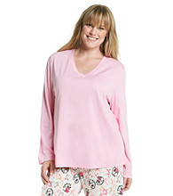HUE® Plus Size Classic Long Sleeve V-Neck Top