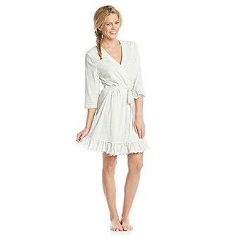 Zoe & Bella @ BT Light Heather Grey Lace Trim Knit Robe - Light Heather Grey